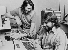 """Steve Wozniak/Steve Jobs ~ """"Apple was established on April 1, 1976 by Steve Jobs, Steve Wozniak, and Ronald Wayne, to sell the Apple I personal computer kit. They were hand-built by Wozniak and first shown to the public at the Homebrew Computer Club. The Apple I was sold as a motherboard (with CPU, RAM, and basic textual-video chips) – less than what is today considered a complete personal computer. The Apple I went on sale in July 1976 and was market-priced at…"""""""