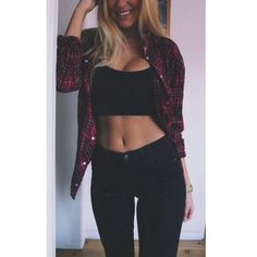 shirt plaid shirt ootd fashion swag black all black black outfit bra jeans girl crop tops skinny jeans pretty girl swag sweater pants High waisted shorts Fashion Killa, Look Fashion, Autumn Fashion, Womens Fashion, Teen Fashion, Fashion Black, Nail Fashion, Fashion Fashion, Fashion News