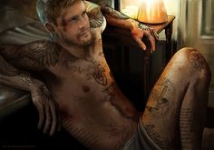 Supernatural - Dean, tattoos - seriously talented artist petite-madame *SWOON*