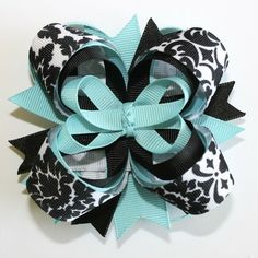 Turquoise and Black Damask 4 Inch Stacked Boutique Hair Bow by rena