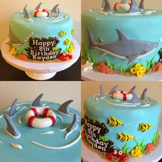 Pool Birthday Cakes, Pool Party Cakes, 5th Birthday, Birthday Cake Kids Boys, Birthday Ideas, Shark Cake, Cakes For Boys, Themed Cakes, Cake Designs