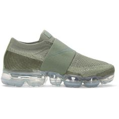 Nike Grey VaporMax Flyknit MOC Sneakers ($210) ❤ liked on Polyvore featuring shoes, sneakers, grey, grey shoes, grey sneakers, low profile sneakers, elastic shoes and flyknit trainer
