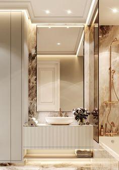 Neoclassic Apartment- Full Cg On Behance on Home Bathroom Ideas 1505 Washroom Design, Bathroom Design Luxury, Modern Luxury Bathroom, Bad Inspiration, Bathroom Inspiration, Bathroom Ideas, Bathroom Showers, Bathroom Vanities, Bathroom Furniture
