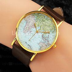 reloj mapa mundo patrón de bandas de la PU de las mujeres - USD $ 3.49