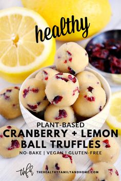 This healthy plant-based Gluten-Free Vegan No-Bake Cranberry Lemon Bliss Ball Tr. , , This healthy plant-based Gluten-Free Vegan No-Bake Cranberry Lemon Bliss Ball Truffles recipe is so easy to make with only 8 clean, real food ingredie. Desserts Végétaliens, Healthy Dessert Recipes, Gourmet Recipes, Whole Food Recipes, Whole Food Desserts, Easter Desserts, Paleo Recipes, Baking Recipes, Vegan Recipes Healthy Clean Eating