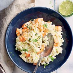 Appréciez nos délicieux repas sur 20. Reproduisez la recette Risotto de crevettes et découvrez le nombre de Smartpoints. Shrimp Risotto, Plats Healthy, Slimming Recipes, Skinnytaste, 20 Min, Shrimp Recipes, Fried Rice, Menu, Vegan