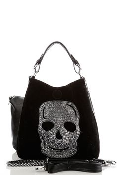 Large Skull Embellished 2-In-1 Black Bag