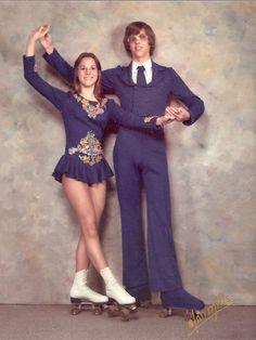 Roller-skating couple, 1974. USA.