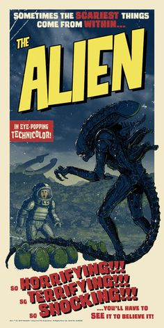 """Alien"" reimagined as a era science-fiction thriller. ""The Alien"" Best Movie Posters, Classic Movie Posters, Movie Poster Art, Poster S, Vintage Movie Posters, Fiction Movies, Sci Fi Movies, Scary Movies, Science Fiction"
