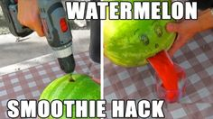 Make Watermelon Smoothies in Seconds with a Drill and a Coat Hanger. Tested: http://pintester.com/2014/08/attempting-watermelon-smoothies-with-bud-light-lime-in-hand/