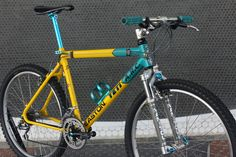vintage Yeti A. mountain bike from the early All the turquoise Ringle, Cook Bro's, and XTR you could want. Bicycle Paint Job, Bicycle Painting, Yeti Cycles, Online Bike, Bicycles, Mtb, Mountain Biking, Retro Bikes, Furniture