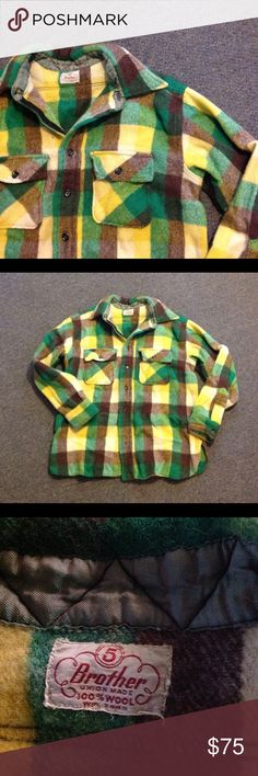 """Vintage 50s 60s Wool Plaid Shirt 5 Brother S M Nice and colorful vintage Men's shirt. 100% Wool Plaid in green, yellow and brown. Great condition- no holes or moth damage. Seems to fit a Medium (maybe short) but please check the measurements. Chest 43"""" Length 26"""" Sleeves 33"""" Vintage Shirts"""