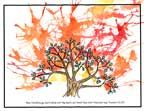 Sunday School Bible Craft Burning Bush Craft- droplets of orange and red paint blow with a straw. Then add silk bush leaves