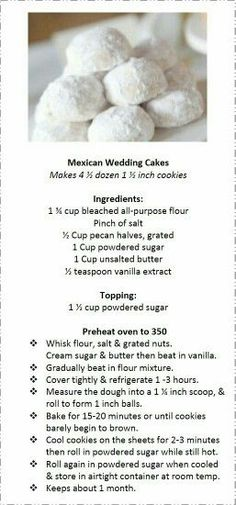 Mexican Wedding Cakes DIY Cinco de Mayo Party Ideas Food Desserts Easy Fiesta Party Ideas for Kids Mexican Candy Cookies, Cookie Desserts, Yummy Cookies, Holiday Cookies, Desserts Diy, Party Desserts, Holiday Baking, Christmas Baking, Mexican Food Recipes