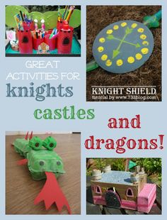 Great ideas for all things dragons, knights and castles.- a little crafty for me, but could take some ideas and run with them...