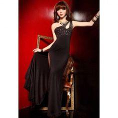Stunning Strapless Off-One-Shoulder Big Cut Hem Faux Pearl Decorated Lycra Women's Maxi Dress