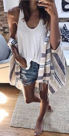 #summer #outfits White Tank + Striped Kimono + Ripped Denim Short