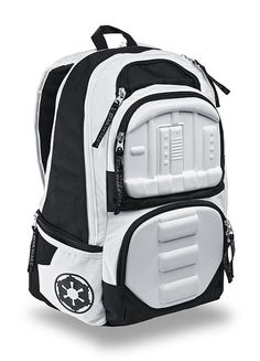 This Star Wars Stormtrooper Molded Backpack is a great (not-Empire-approved) solution. With molded panels on the outside that look like Stormtrooper armor, it's subtle and outrageous at the same time.