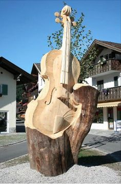 Fiddle from tree, outdoor sculpture