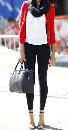 red cardigan, white tee, black infinity scarf, and black skinnies