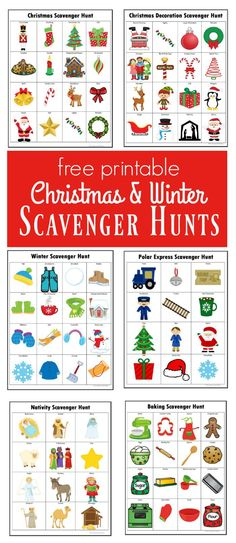 Winter & Christmas Scavenger Hunts {Free Printables} Kids will have a lot of fun doing these winter and Christmas scavenger hunts. Preschool Christmas, Christmas Games, All Things Christmas, Winter Christmas, Christmas Crafts, Christmas Ideas, Christmas Scavenger Hunt, Scavenger Hunt For Kids, Scavenger Hunts