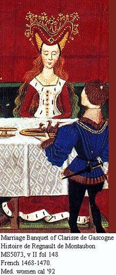 heart-shaped henin. Mariage Banquet of Clarisse de Gascogne Histoire de Regnault de Montaubon MS5073, v II fol 148 French 1468-1470.