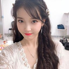 (IU) Braided, Long Hair with flowers Korean Celebrities, Celebs, Iu Twitter, Koo Hye Sun, Kpop Hair, Iu Fashion, Sweet Style, Braided Hairstyles, Iu Hairstyle