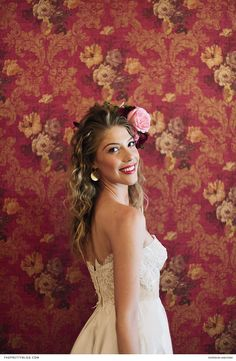 They were inspired by the venue's big red door, golden chandelier and Vivienne Westwood wallpaper. Bridal Looks, Vivienne Westwood, Dark Red, Wedding Hairstyles, Lace Dress, Wedding Inspiration, Chandelier, Romance, Passion