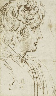 Recto: The bust of a youth in profile. Verso: Studies of machinery, showing the action of cog-wheels Royal Collection Trust, Ink, Drawing, Wheels, Youth, Action, Profile, Paper, Art