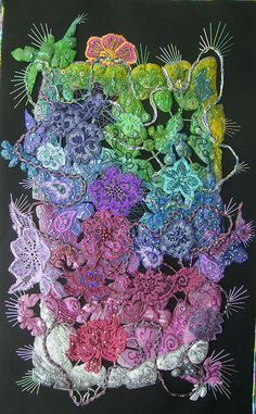 Rainforest Flowers: paint, beading and embroidery by Karen Cattoire, via Flickr.