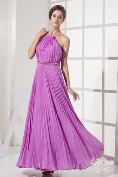 A-line Halter Draped Ankle-Length Evening Dresses  Only $113.5  Save Now!
