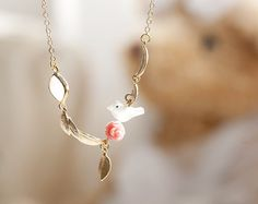 N0033 // Pink Rose Mix Necklace by queenspark on Etsy, $11.00