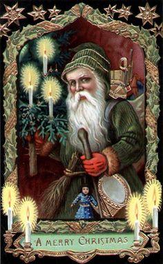 Christmas Postcards, Christmas Images, Christmas Art, Christmas And New Year, Vintage Christmas, Christmas Decorations, Old World, Poster, Santa