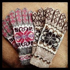 Gloves of Scandinavian origin Fingerless Gloves Knitted, Crochet Gloves, Knit Mittens, Knit Crochet, Fair Isle Knitting, Knitting Yarn, Knitting Patterns, Crochet Patterns, Wrist Warmers