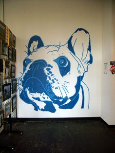 Wall Mural made with painter's tape. #scotchblue. Would like to make my cresteds faces to our hall with this!!!