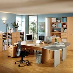 Astonishing Modern Office Design Ideas: Agreeable Home Office Design For Two People Furniture Elegant Decoration Modern Style With Laminate Flooring Instalation And Blue Paint Wall ~ wiligear.com Home Office Design Inspiration