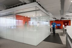 Glass wall Graphics - Kayak Startup Tech Office meeting cube with graduated glass frosting and orange feature wall. Office Space Design, Office Interior Design, Office Designs, Office Ideas, Corporate Interiors, Office Interiors, Best Office, Startup Office, Glass Office