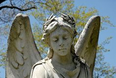 One of the angels in the Grove Cemetery in Belfast, Maine.