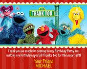 Sesame Street Birthday Party Invitation - Red or Pink - Boy or Girl - Digital File. $6.00, via Etsy.
