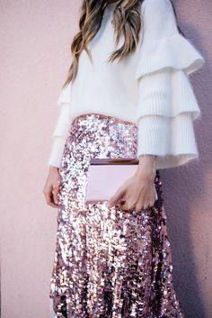 Pink sequin skirt + white sweater