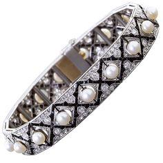 Art deco diamond onyx pearl bracelet jewels жемчуг, браслеты, ювелирные и. Pearl Jewelry, Jewelry Art, Jewelry Bracelets, Fine Jewelry, Jewelry Design, Link Bracelets, Jewlery, Pearl Bracelets, Bangles