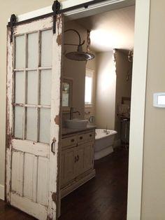 Old door re-purposed with Barn Door Sliding Fixture, for Bathroom Door (painted panes?)