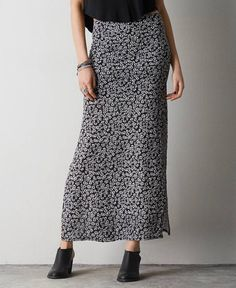 American Eagle Double Slit Maxi Skirt, Women's, Pink
