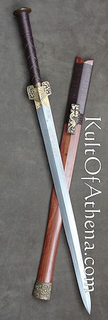 Chinese Han Dynasty Sword hanging on Calen's wall Swords And Daggers, Knives And Swords, Martial Arts Weapons, Medieval Weapons, Arm Armor, Fantasy Weapons, Armors, Katana, Knifes