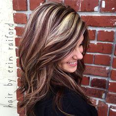Mahogany with blonde highlights  #FallCollors  Hair model Brittany Savignol