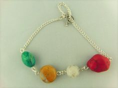 Semi Precious Bead and Silver Plated Chain Elements Bracelet with Safety Chain £10.00