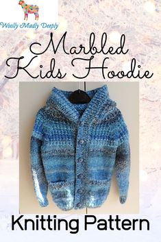 The Marble Kids Hoodie matches our Adult and baby versions. The hood features the textured pattern and a ribbed band for a good fit. We used James Brett Marble for our hoodie. The children's pattern is sized from a 20 to 30 inch chest size with 4 inches/20cm of ease built into the sizing. The cardigan features two optional pockets to the front, ribbed bands and an attractive textured pattern on the yoke area. Baby Knitting Patterns, Knitting Ideas, Baby Bootees, Hoodie Pattern, Chunky Yarn, Baby Cardigan, Our Baby, Marble, Bands