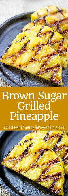 Easy Brown Sugar Grilled Pineapple made in a grill pan is the quintessential side dish to any summer dishes you're making. When grilled the pineapple gets soft, tender and melts in your mouth! - Grilled Pineapple {All You Need to Know! Fruit Recipes, Summer Recipes, Healthy Recipes, Recipies, Summer Entrees, Vegan Bbq Recipes, Delicious Recipes, Dessert Recipes, Grilled Fruit