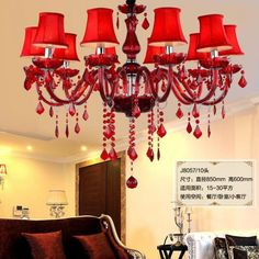 99.00$  Watch here - http://aliij0.worldwells.pw/go.php?t=32692932631 - kitchen glass crystal chandelier led modern lighting with red lamp cover 6/8/10 pcs wedding led candle lights Lamparas De Techo