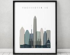 Washington DC poster, art print, Wall art, skyline, Travel, City poster, Gift, Home Decor, Wall Decor, ArtPrintsVicky